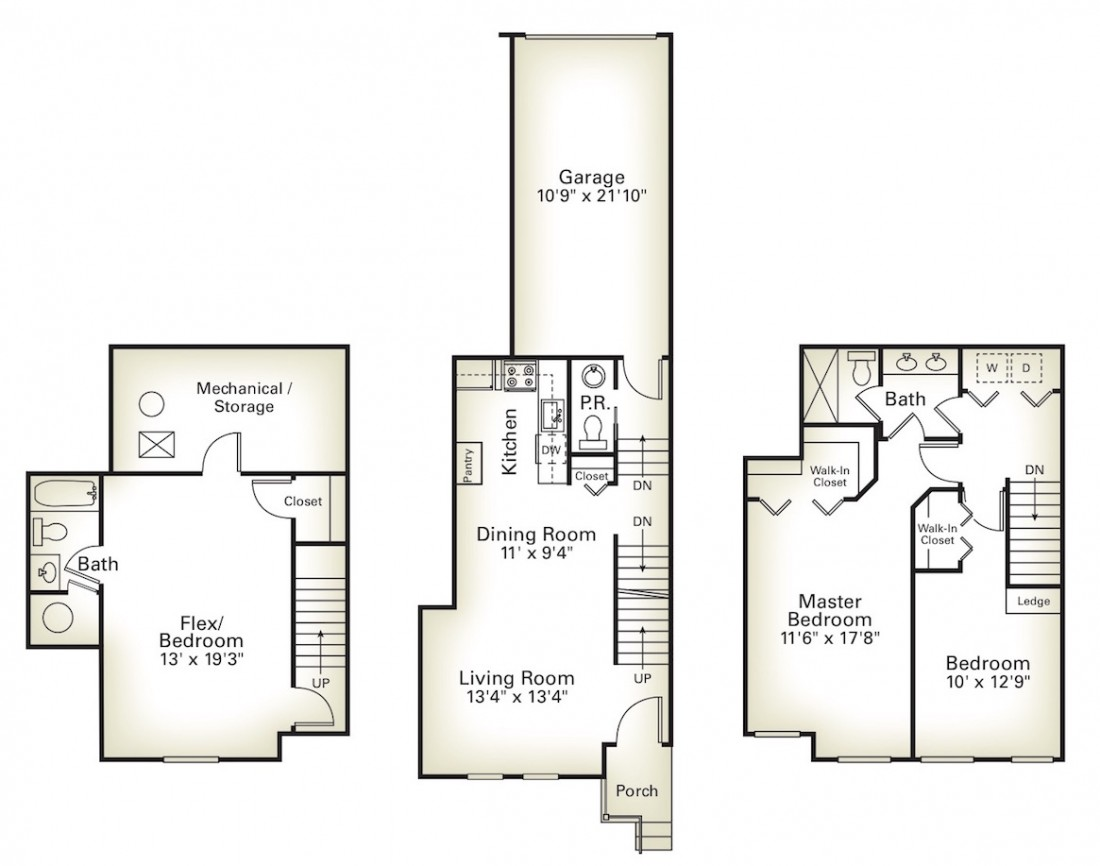 Plymouth, MI Townhome Amenities & Layouts - Apartment Rentals | Ravines of Plymouth - Ravines_Three_Bedroom